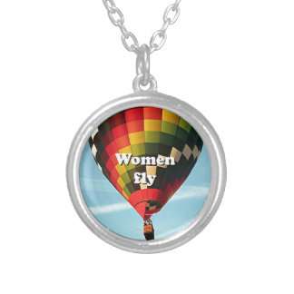 Women fly: hot air balloon silver plated necklace