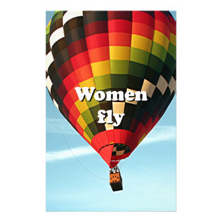 Women fly: hot air balloon stationery