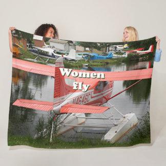 Women fly: orange float plane , Alaska Fleece Blanket