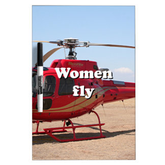 Women fly: red helicopter Dry-Erase boards