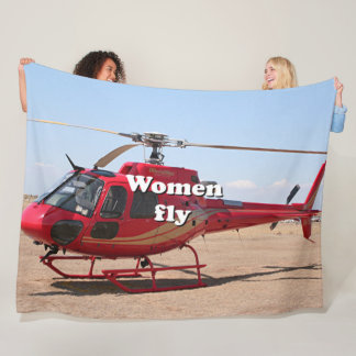 Women fly: red helicopter fleece blanket