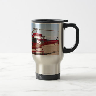 Women fly: red helicopter travel mug