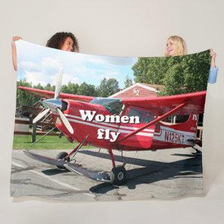 Women fly: ski plane, Talkeetna, Alaska Fleece Blanket