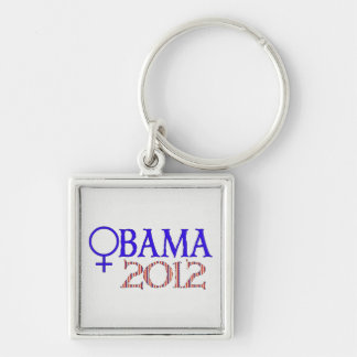 WOMEN FOR OBAMA Silver-Colored SQUARE KEY RING