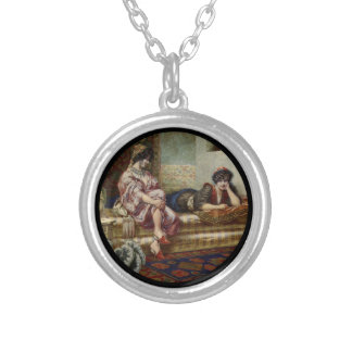 Women Friends in a Harem Silver Plated Necklace