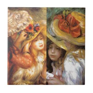 Women headwear are masterpieces in Renoir's art Ceramic Tile