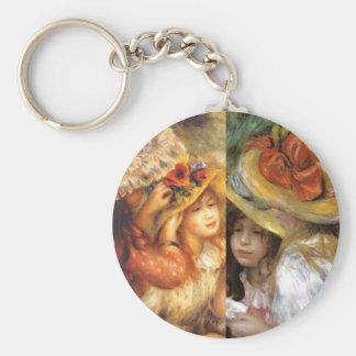 Women headwear are masterpieces in Renoir's art Key Ring