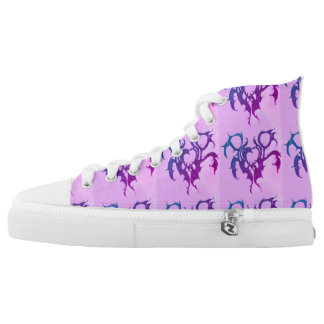 women high tops shoes light purple with hearts