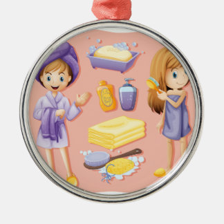 Women in bathrobe and bathroom set Silver-Colored round decoration