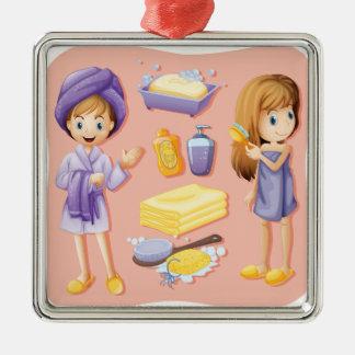 Women in bathrobe and bathroom set Silver-Colored square decoration