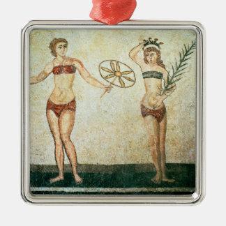 Women in 'bikinis' Silver-Colored square decoration