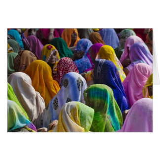 Women in colorful saris gather together card