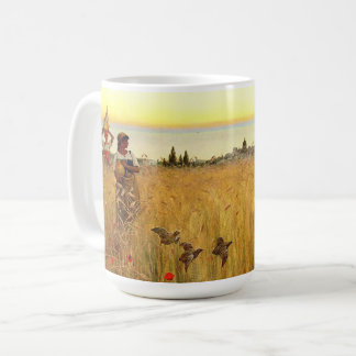 Women in Fields of Capri Italy Birds Mug