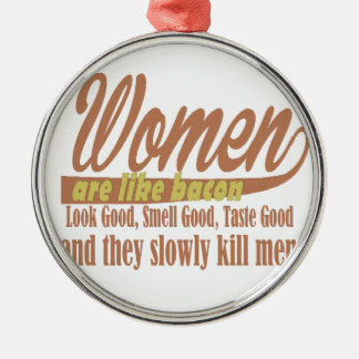 Women like bacon Silver-Colored round decoration