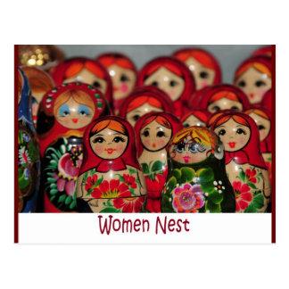 Women Nest, Russian Nesting Dolls Postcard