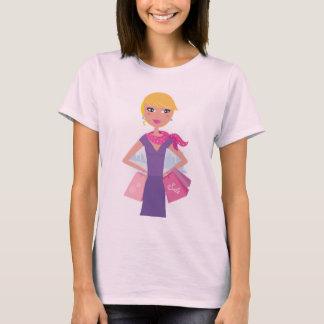 Women pink t-shirt with Shopping girl