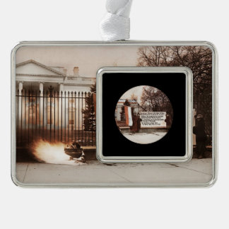 Women Protest at White House Silver Plated Framed Ornament