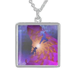 women rock climbing art sterling silver necklace