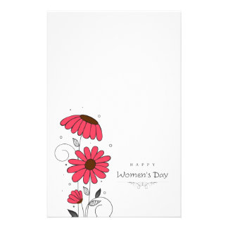 Women's day and drawn of pink flowes  with circles customized stationery