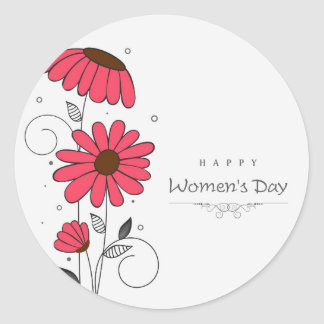 Women's day and drawn of pink flowes  with circles round sticker