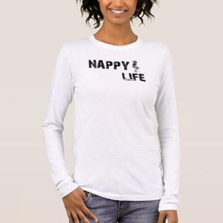 Women's Nappy Life Long Sleeve Tee w/Black Logo.