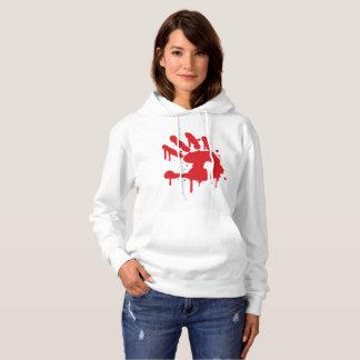 """Women's white """"Never Again"""" sweat shirt/red logo Hoodie"""
