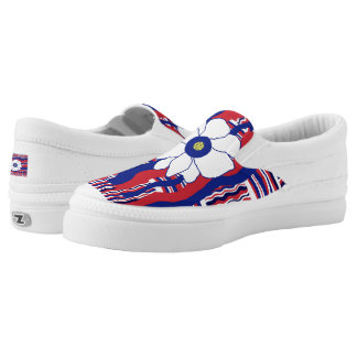 Women Shoes canvas slipon red white blue Printed Shoes