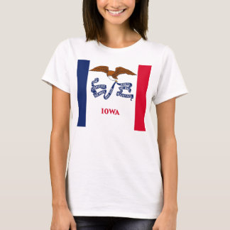 Women T Shirt with Flag of Iowa State