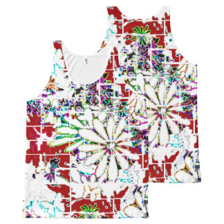 Women Tank Top Red White Multi Comfortable All-Over Print Tank Top