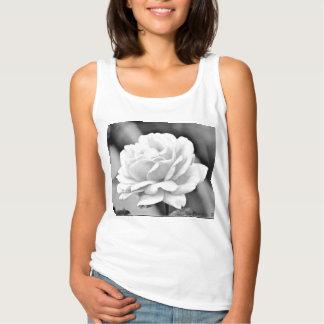Women' Tank Top - White Rose on Black
