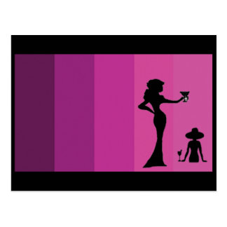 Women Toasting Silhouette Postcards