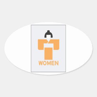 Women toilet, Japanese Sign Oval Sticker