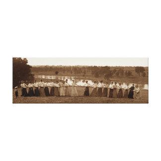 WOMEN TUG OF WAR 1890 TUG-O-WAR ORIGINAL CANVAS PRINT
