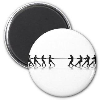 Women versus men business tug of war competition fridge magnet
