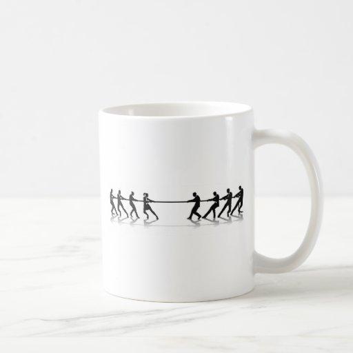 Women versus men business tug of war competition mug