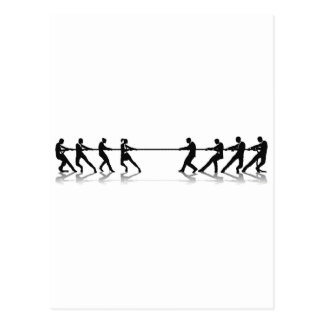 Women versus men business tug of war competition postcard