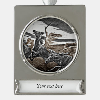 Women Vikings in Storm Silver Plated Banner Ornament