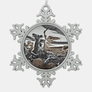 Women Vikings in Storm Pewter Snowflake Decoration
