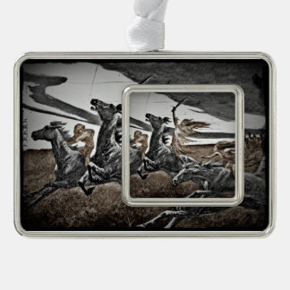 Women Vikings in Storm Silver Plated Framed Ornament