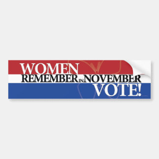 Women Vote - Remember in November 3 Bumper Sticker