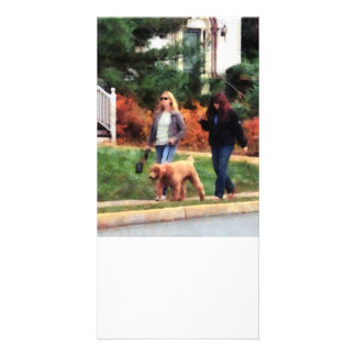Women Walking a Dog Customized Photo Card
