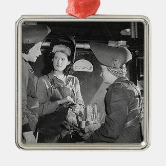 Women Welders Silver-Colored Square Decoration