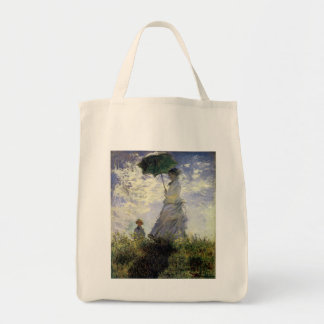 Women with a Parasol ~ Madame Monet with Her Son Grocery Tote Bag