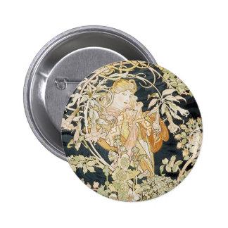Women with Daisies Art Nouveau 6 Cm Round Badge