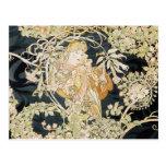 Women with Daisies Art Nouveau Postcard