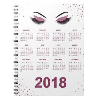 Women with glittery makeup 2018 calendar notebook