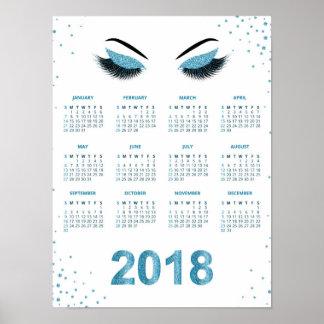 Women with glittery makeup 2018 calendar poster