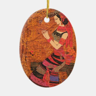 Women with Waist Flowers Chen Yongle oriental  art Ceramic Oval Decoration