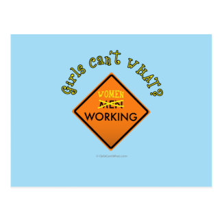 Women Working Construction Sign Postcards