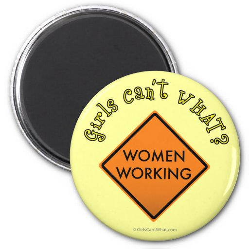 Women Working Road Sign Magnet